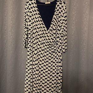 Black and white faux wrap dress